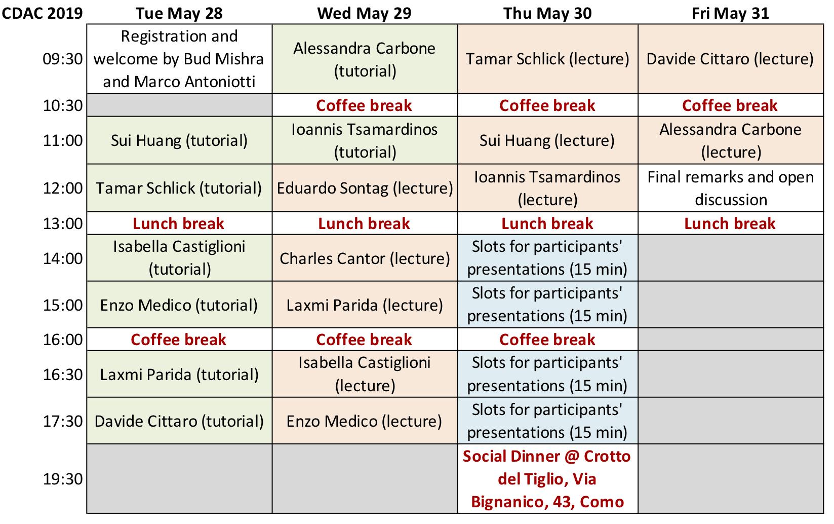 2019 CDAC Schedule